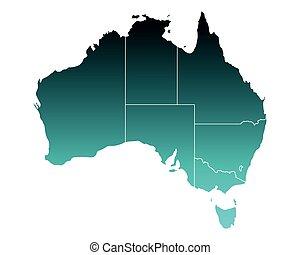 mapa, de, australia