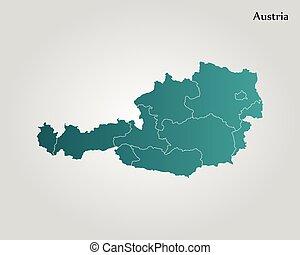 mapa, de, austria