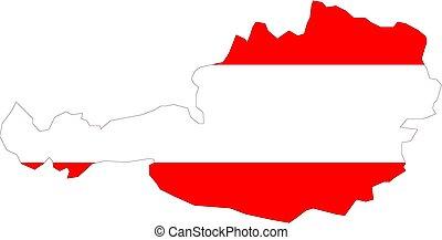 mapa, de, austria, con, bandera