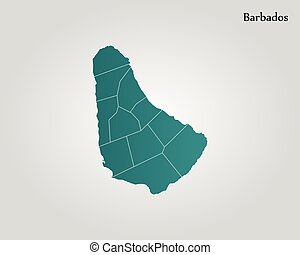 mapa, de, barbados