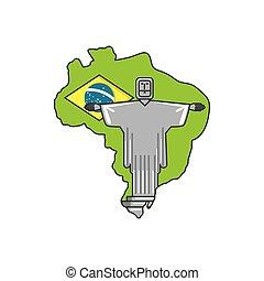mapa, de, brasil, con, corcovado, cristo