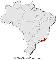 mapa, de, brasil, río de janeiro, destacado