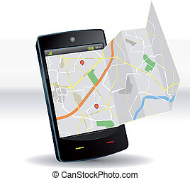 mapa de calle, en, smartphone, móvil, dispositivo