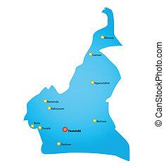 mapa, de, camerún