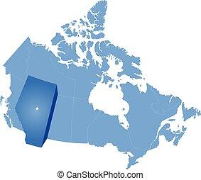mapa, de, canadá, -, alberta, provincia