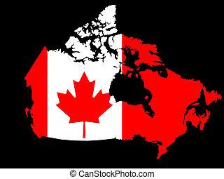 mapa, de, canadá