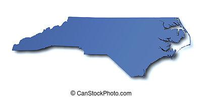 mapa, de, carolina del norte, -, estados unidos de américa