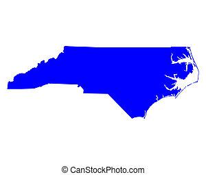 mapa, de, carolina norte