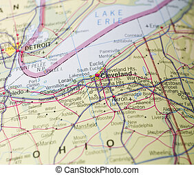 mapa, de, cleveland