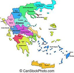 mapa de color, grecia
