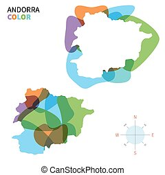 mapa de color, resumen, vector, andorra