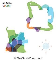 mapa de color, resumen, vector, angola