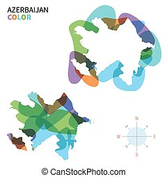 mapa de color, resumen, vector, azerbaiyán