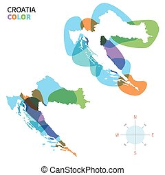 mapa de color, resumen, vector, croacia