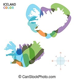 mapa de color, resumen, vector, islandia