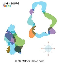 mapa de color, resumen, vector, luxemburgo