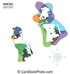 mapa de color, resumen, vector, macao