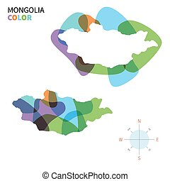 mapa de color, resumen, vector, mongolia