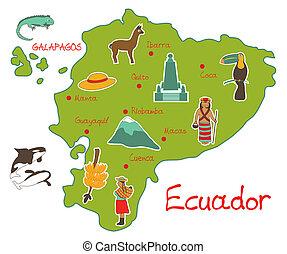mapa, de, ecuador, con, típico, características