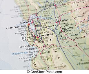 mapa, de, el, costa este, de, estados unidos de américa