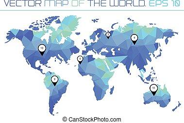 mapa, de, el mundo, con, polygonal, fondo.