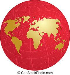 mapa, de, el mundo, ilustración, en, globo, cuadrícula