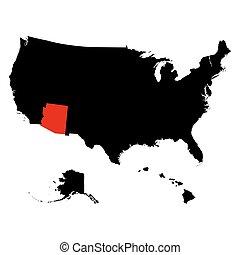 mapa, de, el, u..s.., estado, arizona