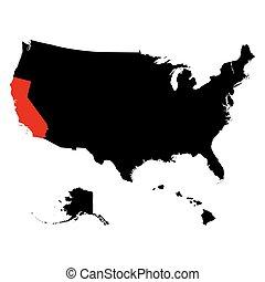 mapa, de, el, u..s.., estado, california