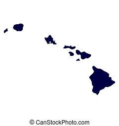 mapa, de, el, u..s.., estado de hawaii