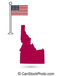 mapa, de, el, u..s.., estado, de, idaho, en, un, blanco, fondo., bandera estadounidense