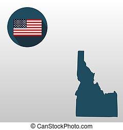 mapa, de, el, u..s.., estado, de, idaho, en, un, blanco, fondo., bandera estadounidense, estrella