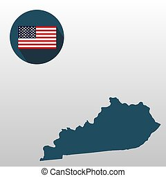 mapa, de, el, u..s.., estado, de, kentucky, en, un, blanco, fondo., bandera estadounidense