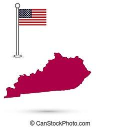 mapa, de, el, u..s.., estado, de, kentucky, en, un, blanco, fondo., norteamericano, flag.