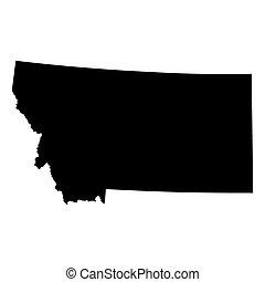 mapa, de, el, u..s.., estado de montana