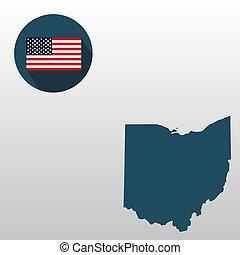 mapa, de, el, u..s.., estado, de, ohio, en, un, blanco, fondo., bandera estadounidense