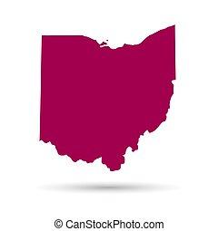 mapa, de, el, u..s.., estado, de, ohio, en, un, blanco, fondo.