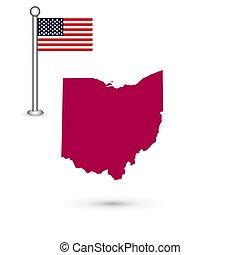 mapa, de, el, u..s.., estado, de, ohio, en, un, blanco, fondo., norteamericano, fl