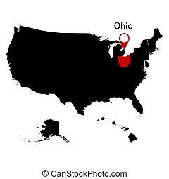 mapa, de, el, u..s.., estado, de, ohio