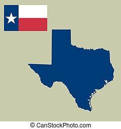 mapa, de, el, u..s.., estado de texas, con, bandera