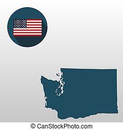 mapa, de, el, u..s.., estado de washington, en, un, blanco, fondo., bandera estadounidense