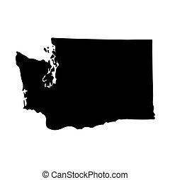 mapa, de, el, u..s.., estado de washington, en, un, blanco, fondo.