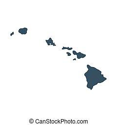 mapa, de, el, u..s.., estado, hawai