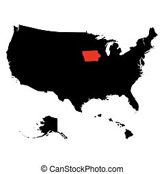 mapa, de, el, u..s.., estado, iowa