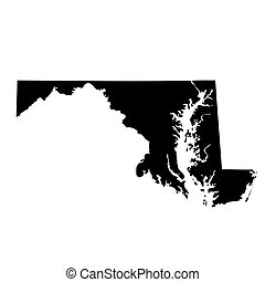 mapa, de, el, u..s.., estado, maryland