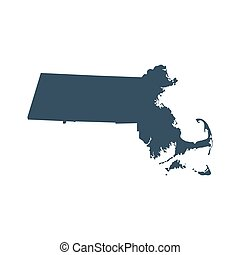 mapa, de, el, u..s.., estado, massachusetts