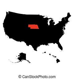 mapa, de, el, u..s.., estado, nebraska