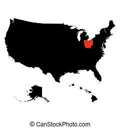 mapa, de, el, u..s.., estado, ohio