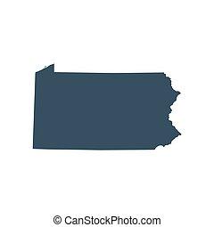 mapa, de, el, u..s.., estado, pensilvania