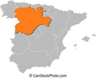 leon espanha mapa Castilha, mapa, leon, (spain) Castilha, mapa, região, spain., leon. leon espanha mapa