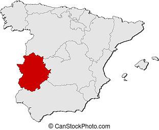 mapa estremadura espanha Destacado, mapa, espanha, extremadura. Mapa, político, regiões  mapa estremadura espanha
